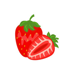 colorful whole and half red strawberry vector image