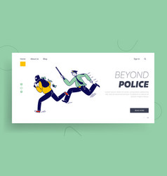 constable character pursuit and fight vector image