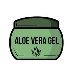Cosmetic jar aloe vera product icon flat design vector