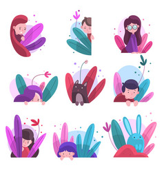 cute boys girls and animals hiding in bushes set vector image