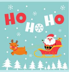 cute santa and reindeer greeting card vector image