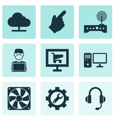 digital icons set with cursor hardware pc and vector image