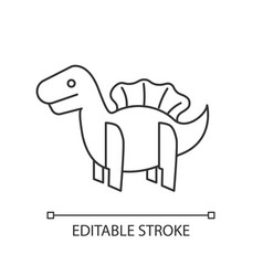 Dinosaur 3d puzzle toy pixel perfect linear icon vector