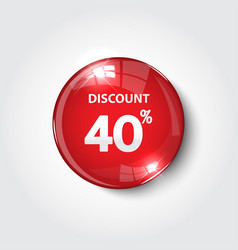 discount button color red glossy vector image