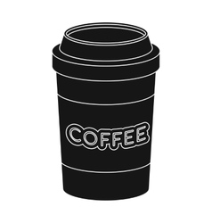 Disposable coffee cup icon in black style isolated vector
