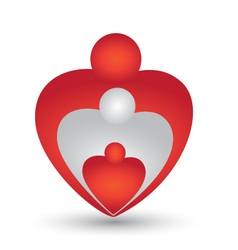 Family in a heart shape logo vector image