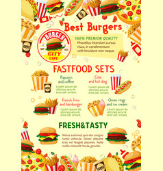 Fast food restaurant menu poster vector