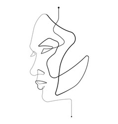 Female face single continuous line vector