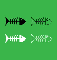 fish sceleton icon black and white color set vector image