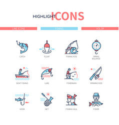 fishing concept - line design style icons set vector image