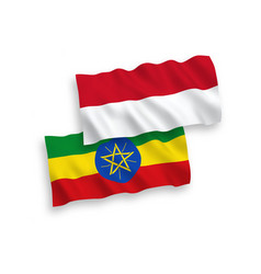 Flags indonesia and ethiopia on a white vector