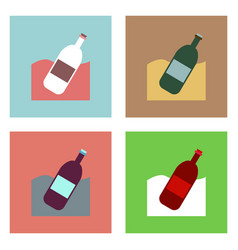 Flat icon design collection bottle in the ground vector