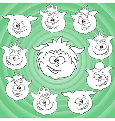 Funny cartoon piglet faces around big pig face vector