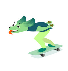 Funny dog playing skateboard vector