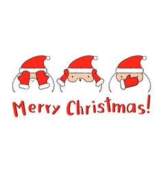 Funny santa claus in three santa closing mittens vector