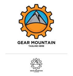 Gear mountain logo icon vector