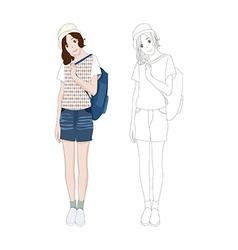 Girl Denim Fashion Asian Color No 3 vector image