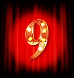 gold numbers 9 greeting card vector image