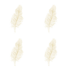Golden feather decor seamless pattern vector