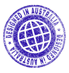 grunge textured designed in australia stamp seal vector image