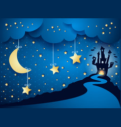 Halloween background with castle and moon vector