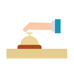 Hand human with button bell isolated icon vector