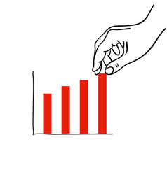 hand putting a bar in a red bar graph vector image
