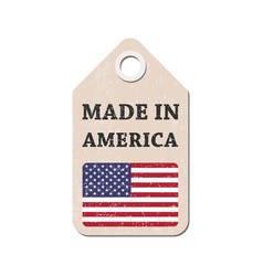 hang tag made in america with flag vector image