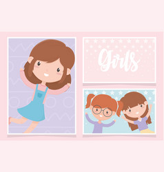 happy childrens day cute little girls cartoon vector image