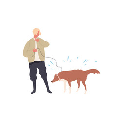Hipster guy hiding from drops dogs shaking wet vector