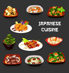 Japanese dishes meat seafood fish vegetables vector