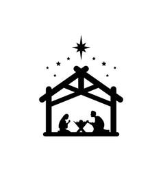 Jesus christ was born symbol sign mary and joseph vector