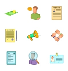 Job contract icons set cartoon style vector