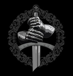 knight design armour gloves knight shield vector image
