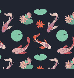 koi fish oriental pattern summer fisf pattern vector image