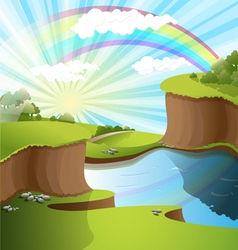 Landscape rainbow vector