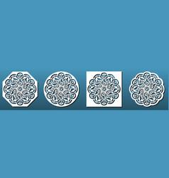 laser cut coasters set stencils for cnc vector image