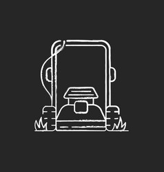 Lawn mowing chalk white icon on black background vector