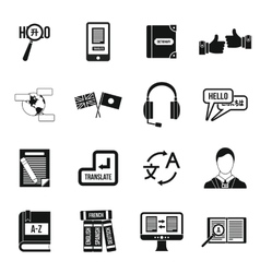 Learning foreign languages icons set simple style vector image
