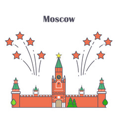 Linear moscow kremlin with red stars fireworks vector