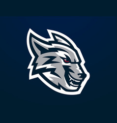 Logo mascot of aggressive wolf ready to attack vector