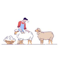Male farmer shearing sheep flat character wool vector