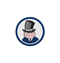 Man Wearing Top Hat Smiling Circle Cartoon vector