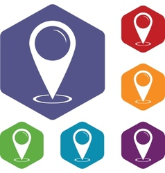 Map marker rhombus icons vector