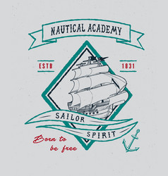 Nautical academy handmade ship vector