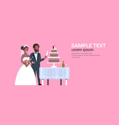 newlyweds just married african american couple vector image