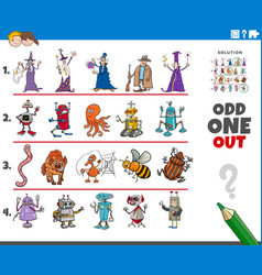 Odd one out picture game with cartoon characters vector