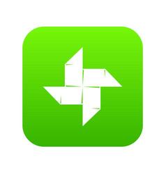 origami shuriken icon green vector image