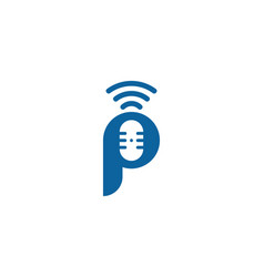 p letter podcast logo icon design vector image