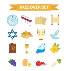 Passover icons set flat cartoon style Jewish vector
